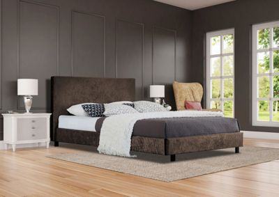 Comfy Living 5ft King Size Crushed Velvet Bed Frame in Brown with Damask Orthopaedic Mattress