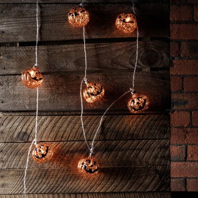 10 Halloween Pumpkin Bauble Battery LED Fairy Lights