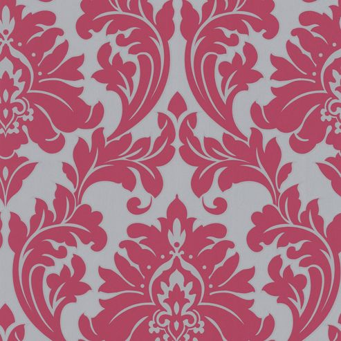 Superfresco Easy Paste the Wall Majestic Damask Print Hot Pink Wallpaper