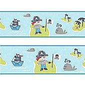 Pirate Wallpaper Border - Blue