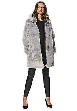 F&F Faux Fur Coat - Dove grey