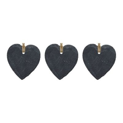 Small Hanging Decorative Heart Slate Tag - Box of 3