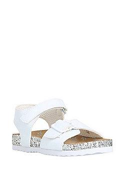 F&F Glitter Footbed Sandals - White