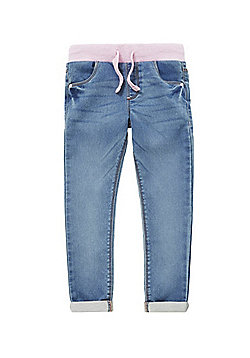 F&F Ribbed Waist Turn-Up Jeans - Denim