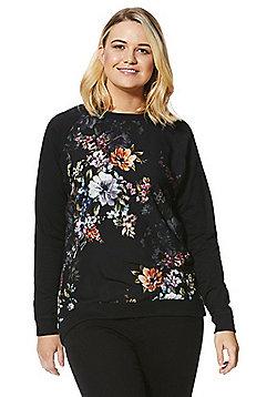 Simply Be Capsule Floral Sweatshirt - Black