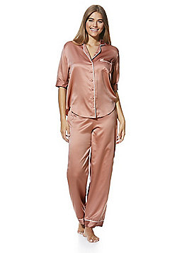 F F Piped Satin Pyjamas - Nude 667d39607