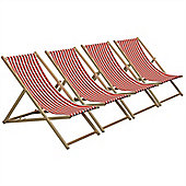 Traditional Adjustable Garden / Beach-style Deck Chair - Red / White Stripe - Pack of 4