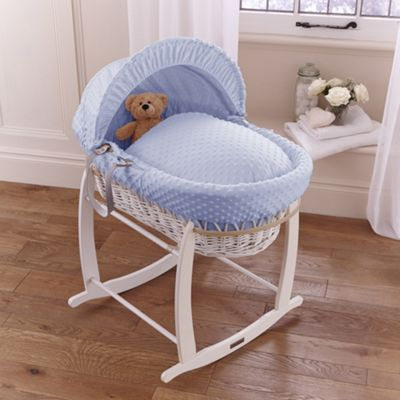 Clair de lune Dimple White Wicker Moses Basket - Blue