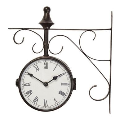 Briers Warminster Outdoor Black Iron Traditional Station Clock and Thermometer