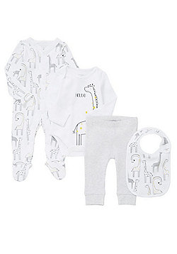 F&F 4 Piece Giraffe Print Bodysuit, Sleepsuit, Bib and Leggings Set - White