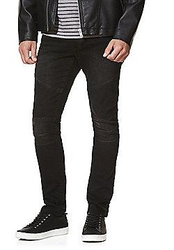 F&F Biker Seam Stretch Skinny Jeans - Washed black