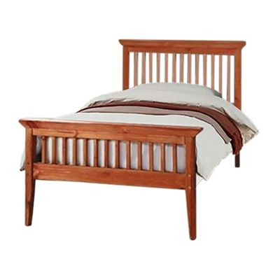 Comfy Living 3ft Single Shaker Style Wooden Bed Frame in Caramel with Damask Memory Mattress
