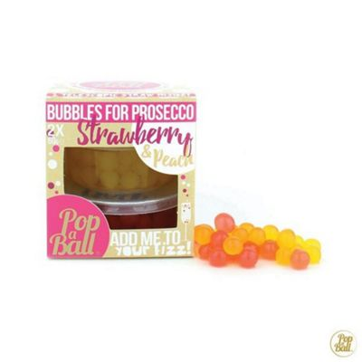 PopaBall Bursting Juicy Bubbles with Extendable Straw Bubbles for Prosecco Strawberry and Peach Flavour