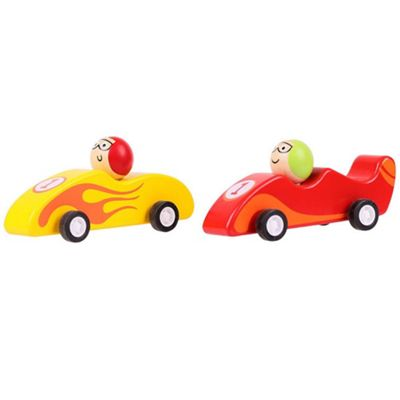 Bigjigs Toys Pull Back Racing Car (Pack of 2 - Red and Yellow)