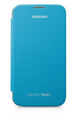 Samsung Original Clip-On-Replacement Battery Cover with Leather Feel Flip Case Galaxy Note 2 - Blue