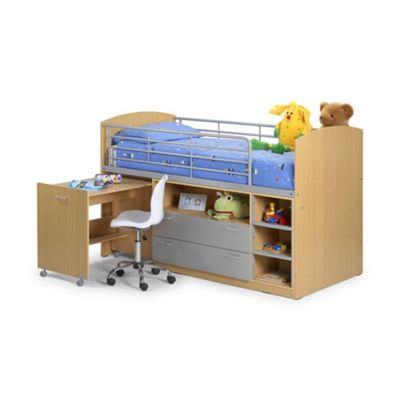 Happy Beds Leo Wood Kids Storage Midsleeper Cabin Desk Storage Bed with Orthopaedic Mattress - Maple and Silver - 3ft Single