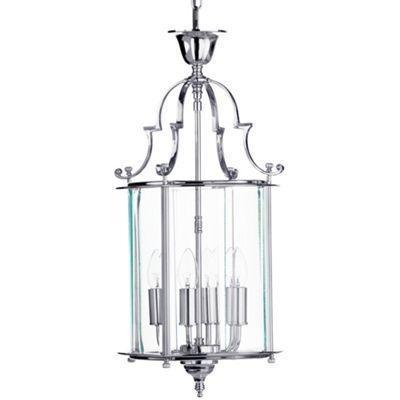 Litecraft Empire Medium 4 Bulb Pendant Ceiling Lantern, Chrome