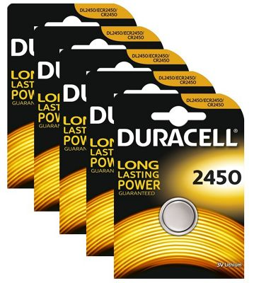 5 x Duracell CR2450 3V Lithium Coin Cell Battery 2450 DL2450 K2450L