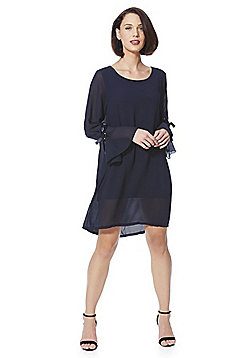 Mela London Ribbon Tie Flute Sleeve Shift Dress - Navy