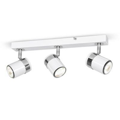 Rosie Three Way Energy Saving Ceiling Spotlight, Gloss White & Chrome