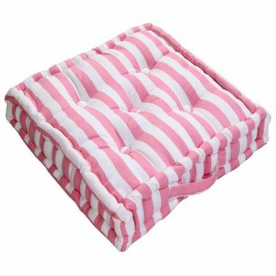 Homescapes Cotton Pink Thick Stripe Floor Cushion, 50 x 50 cm