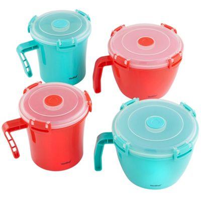 VonShef 4 Piece Microwave Soup Cup/ Noodle Bowl Container Set
