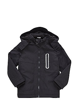 F&F Fleece Lined Hooded Jacket - Black