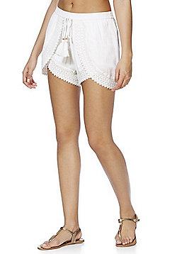 F&F Crochet Lace Trim Crinkle Beach Shorts - White