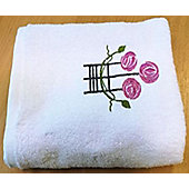 Charles Rennie Macintosh Style Rose Hand Towel in White - 50 x 85 cm