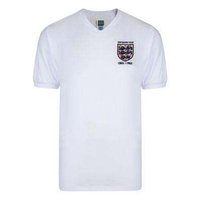 Score Draw England 1963 Centenary Mens Home Football Shirt White - M