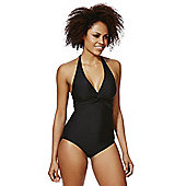 F&F Shaping Swimwear Twist Front Halterneck Swimsuit - Black
