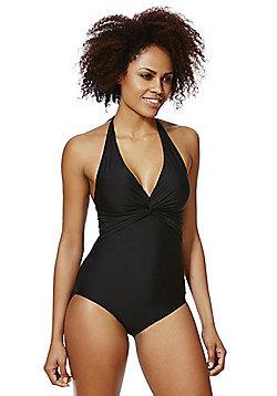 F&F Shaping Swimwear Twist Front Halterneck Swimsuit - Black