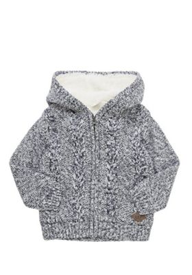 F&F Cable Knit Borg Lined Hooded Cardigan 2-3 years Navy