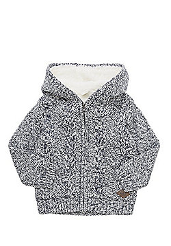 F&F Cable Knit Borg Lined Hooded Cardigan - Navy