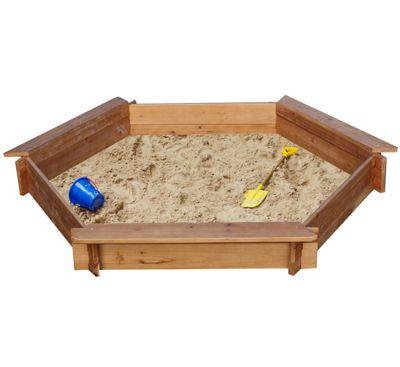 3 Seat Hexagonal Wooden Sandpit 1.5 metres wide