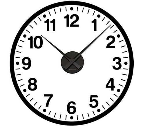 School Clock Wall Sticker, Black