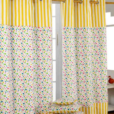 Homescapes Multi Polka Dots Ready Made Eyelet Curtain Pair, 137 x 182 cm Drop