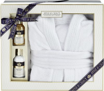 Style & Grace Signature Bathrobe Gift Set 100ml Body Wash + 100ml Body Lotion + Bathrobe