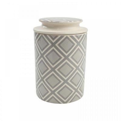 T&G City Ceramics Food Tea Coffee Storage Jar Grey White in Square Design