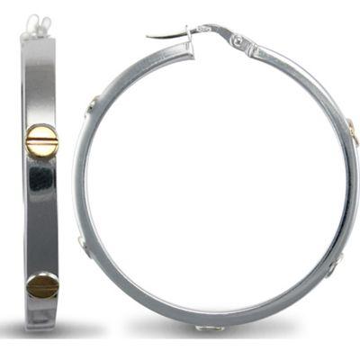 Jewelco London Sterling Silver ScrewEarrings Hoop Earrings - 4mm