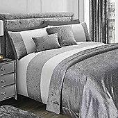 Sienna Velvet Glitter Duvet Cover with Pillowcase Sparkle Bedding Set - Grey