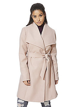 F&F Belted Wrap Coat - Blush pink