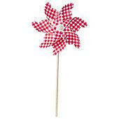 75cm Red & White Gingham Plastic Garden Windmill Ornament