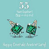 55th Wedding Anniversary Greetings Card - Emerald Anniversary