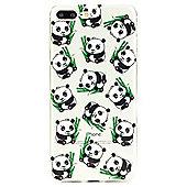 iPhone 7 Plus Cute Panda Pattern Clear Silicone Case - Multi