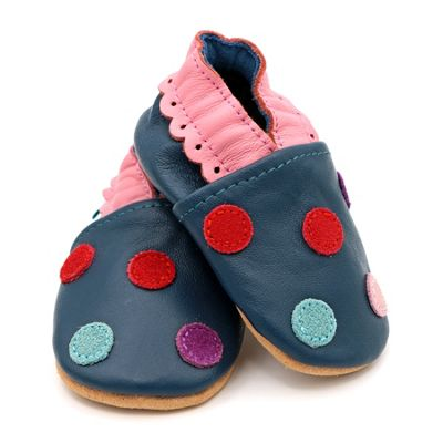 fb1989c6bdcb5 Dotty Fish Soft Leather Baby and Toddler Shoe - Navy Spotty Dotty - 0-6