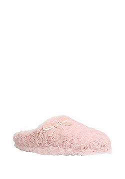 F&F Faux Fur Mule Slippers - Pink