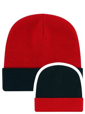 Red & Navy Reversible Slouch Beanie