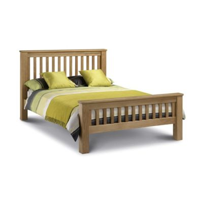 Happy Beds Amsterdam Wood High Foot End Bed with Open Coil Spring Mattress - Oak - 4ft6 Double