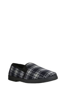 """F&F Checked Closed Back Slippers with Thinsulate""""™ Navy Adult 11"""